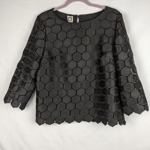 Anne Klein Women's 3/4 Sleeve Lace Hexagon…